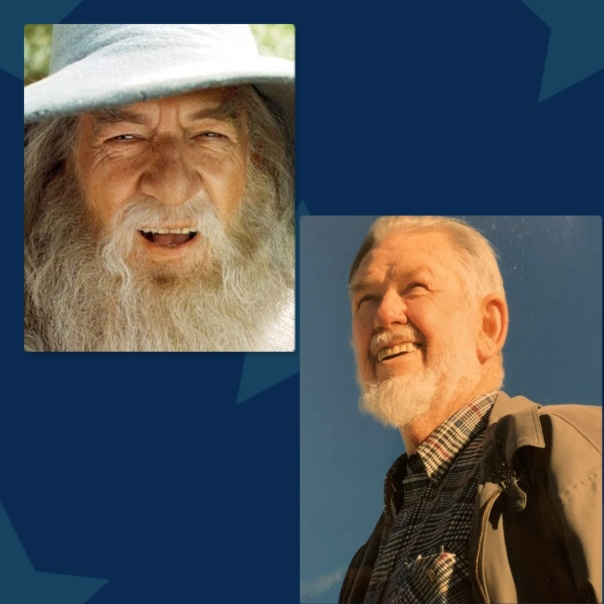 Side by side photos of Ian McKellen as Gandolf from Lord of the Rings next to photo of my dad, David Rose, as himself.